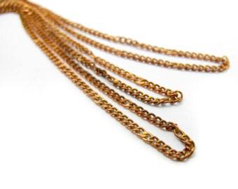 Vintage Orange Brass Curb Chain - soldered (8 Feet) (C661)
