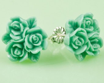 Vintage Turquoise Flower Post Earrings