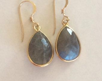 Faceted Labradorite Vermeil Gold bezel set Earrings -  Gemstone Earrings