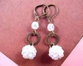 White Berry Earrings, Rhinestone Cluster Berries, Brass Dangle Earrings, FREE Shipping U.S.