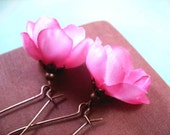 Flower Earrings, Pretty Pink Crocus Blossoms, Fabric Flower and Copper Dangle Earrings, FREE Shipping U.S.