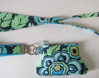Navy Deco Rose Wristlet and Hair Tie Set in Amy Butler Fabric