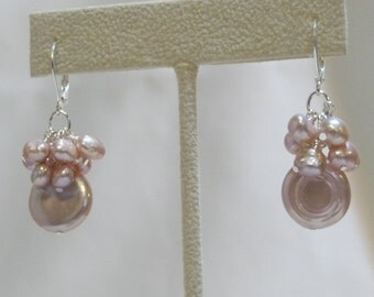 Mauve Freshwater Coin Pearls and Cluster Earrings