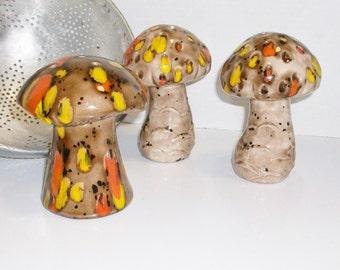 Vintage Ceramic Mushroom Shaker Set | Salt and Pepper and Cheese Shakers