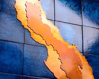 Custom Large Copper Map Art of your location