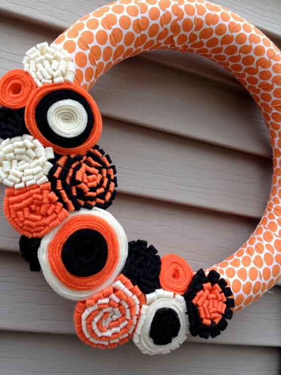 halloween guirlande guirlande automne cr me orange polka. Black Bedroom Furniture Sets. Home Design Ideas