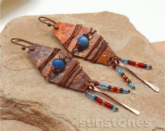 Hammered Rustic Copper Earrings with Gemstones - Tribal, Ethnic E388 PRICE REDUCTION