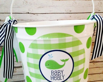 10 Quart Personalized Whale Pail Basket