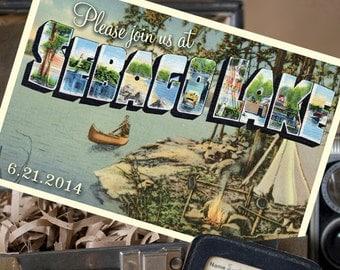 Vintage Large Letter Postcard Save the Date (Sebago Lake, Maine) - Design Fee