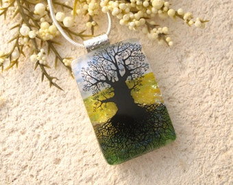 Oak Tree, Tree of Life, Tree Necklace, Rooted Tree  Necklace, Dichroic Pendant, Dichroic Glass Jewelry, Fused Glass Jewelry, 043016p102