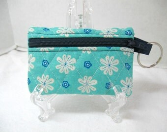 Quilted Floral Coin Purse - Flowers Change Purse - Small Zipper Pouch - Navy Turquoise - Floral Earbud Case
