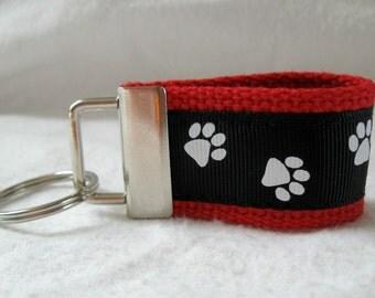 Paw Print Mini Key Fob - Small Dog Key Chain - Cat Key Fob - RED Black