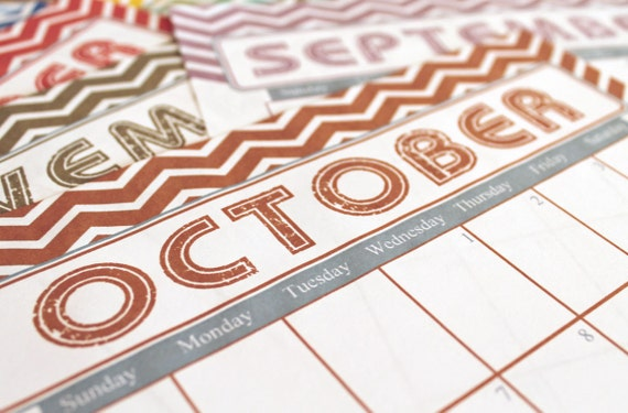 Colorful Chevron, 2014 Printable Calendar - 25% OFF