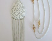 Vintage White Enamel over Metal Filigree & Chain Pendant necklace