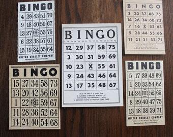 Decorative Lot of 5 Vintage Black Print Bingo Cards