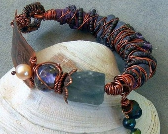 Rustic Etched Copper Ocean Blue  Purple Handmade Bracelet Pearls Lampwork Beads Rainbow Flourite Amethyst Boho Tribal SRA Artisan jewelry