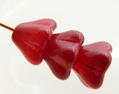 Czech Bell Flower Beads 8x6mm Coated Raspberry Sorbet (15pk) SI-8x6F-RS