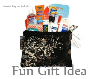 Catch All Bag holds chargers - cords - make up - collections - hard drives -Black Beauty Fabric