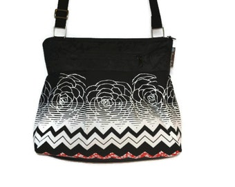 iPad Pocket Handbag -  iPad Shoulder Bag - Tablet Pocket Purse -  Padded Electronics Pocket MEDIUM or Large HOBO BAG Chevron Fabric