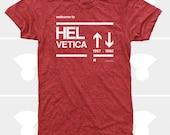 Men's T-Shirt Helvetica (Men) Typography T-Shirt, Swiss, Graphic Design, Arrows, Font S,M,L,Xl,Xxl,Typeface, Red (4 Colors)TShirt for Men