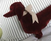 Velvet Doxie Pillow, Alice the Dachshund  - 21 inches - Two Sided READY TO SHIP
