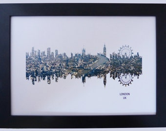 London Skyline Print with aerial city photo
