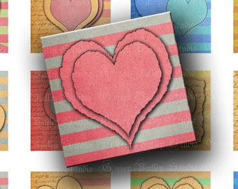 INSTANT DOWNLOAD Paper Hearts Digital Images Collage Sheet Love Stripes 1.5 Inch Square Tiles for Pendants Tags Magnets (GSL4)
