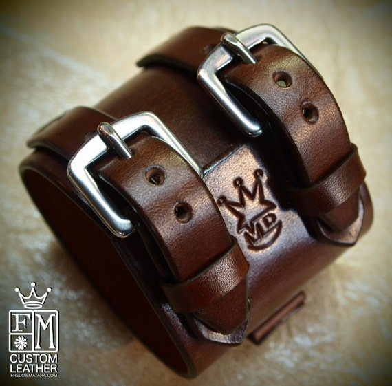 Leather wrist cuff Best quality Brown Depp style bracelet Made for You in NYC by Freddie Matara