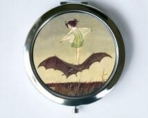 Compact Mirror Pocket Mirror  Girl Riding Bat Art Nouveau fairytale