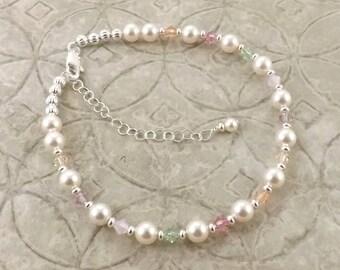 Sweet tenderness pastel shades Swarovski pearl and crystal adjustable anklet ankle bracelet