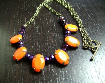 Faceted Gem and Crystal Game Day Necklace in Purple and Orange