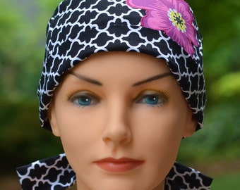 SMALL Womens Surgical Scrub Cap - Perfect Fit Tie Back with FABRIC TIES - Lattice
