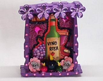 Purple Wine Vino Loteria Mexican Nicho Day of the Dead Shrine Dia de los Muertos Altar