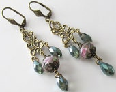 Long Drop Earrings, Rose Pink, Misty Sea Green Crystals, Romantic, Vintage Look, Antique Brass, Beaded Jewelry, Beaded Earrings