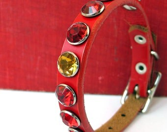 Red Leather Dog Collar with One Rogue Rhinestone, Size XS, to fit a 7-10in Neck, EcoFriendly, OOAK