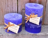 Pair of Violet Victorian Scented Oval Pillar Candles