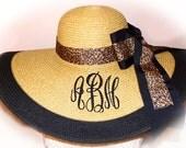 Monogrammed Natural Floppy Hat Leopard NEW ITEM Gorgeous, Foxfield Race, Beach,  Bridal Party, Bridesmaids, Sunbonnet, Derby, Cup Race