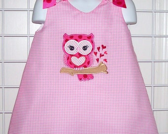 Pink Gingham Valentine Heart Owl Applique Monogram A-line Dress