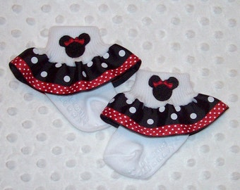 Minnie Mouse Applique Black Polka Dot and Red Swiss Dot Double Ruffle Ribbon Socks