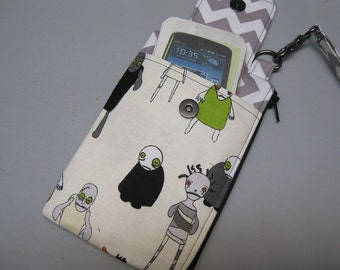 Womens Small Wristlet Wallet or Bag with Smart Phone Pocket Riley Blake Zombies Fabric