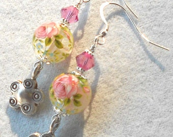 COUNTRY ROSE Pink Floral Cloisonne Swarovski Crystal Hill Tribe Silver Earrings BHV
