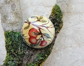 Vintage Tin Ring Soldered Hammered Domed Leaves and Berries