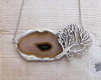 Landscape Agate Necklace Soldered Geode Stone Silver plated Tree