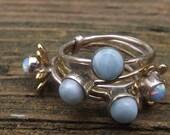 Stacking ring - set of 5 rings- 3 larimar rings- 2 fire opal rings - ring set - size 7