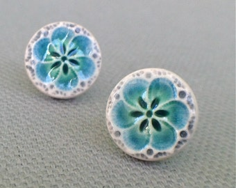 plum blossom post earrings, lagoon and charcoal ... porcelain jewelry by Sofia Masri