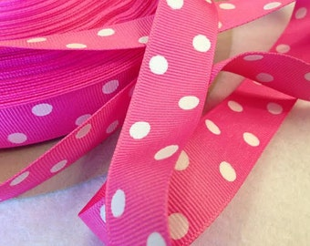 Grosgrain RIBBON - 7/8 Inch x 5 Yards - Dippy Dots - White on Pink