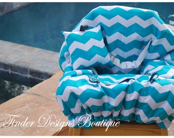 Shopping Cart Cover - Designer Cart Cover - Grocery Cart Cover -  Teal Chevron with Gray dots