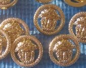 "Medusa Set 10 Versace Style new gold tone Buttons PIERCED 1"" large"
