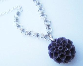 Purple Chrysanthenum Scherzo Chainmaille Necklace Handmade
