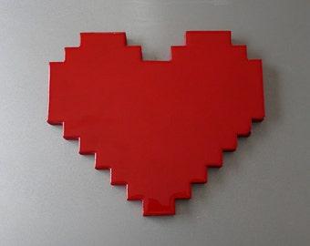 8 bit love - pixelated heart wall art